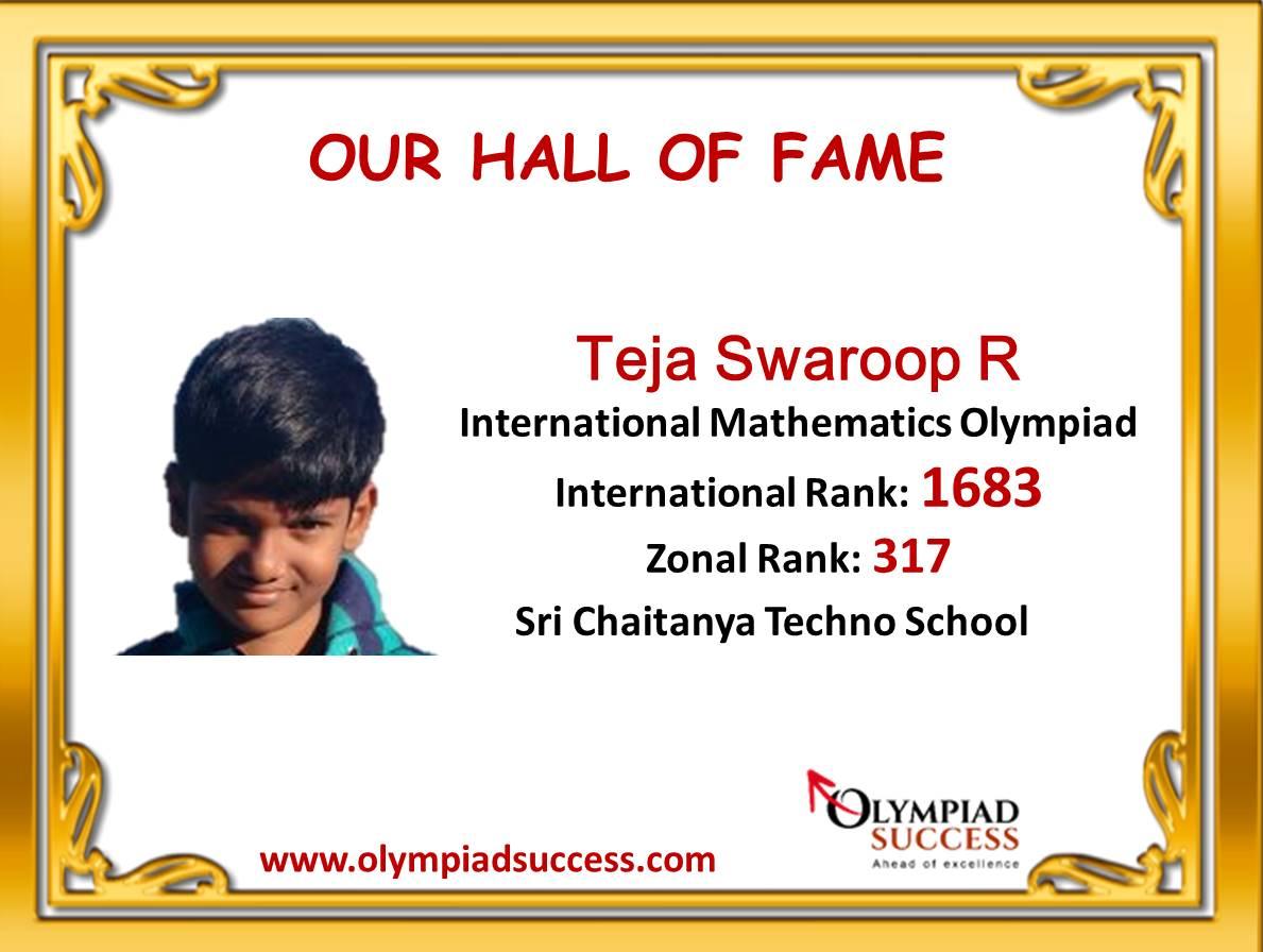Tejaswaroop R, Class 3, Sri Chaitanya Techno School Bengaluru Karnataka